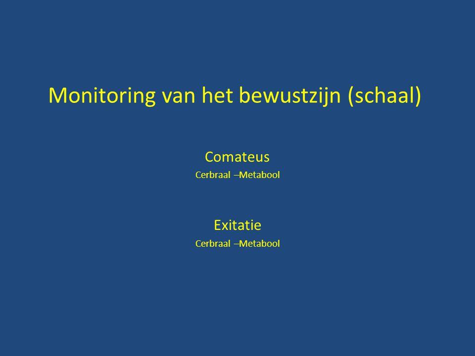 Monitoring van het bewustzijn (schaal) Comateus Cerbraal –Metabool Exitatie Cerbraal –Metabool