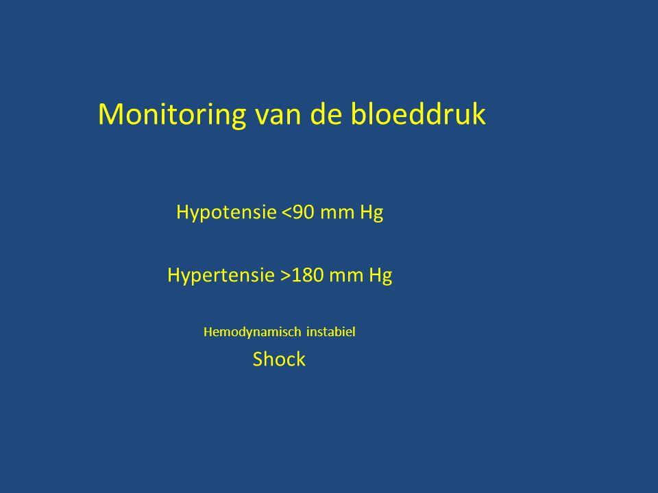 Monitoring van de bloeddruk Hypotensie <90 mm Hg Hypertensie >180 mm Hg Hemodynamisch instabiel Shock