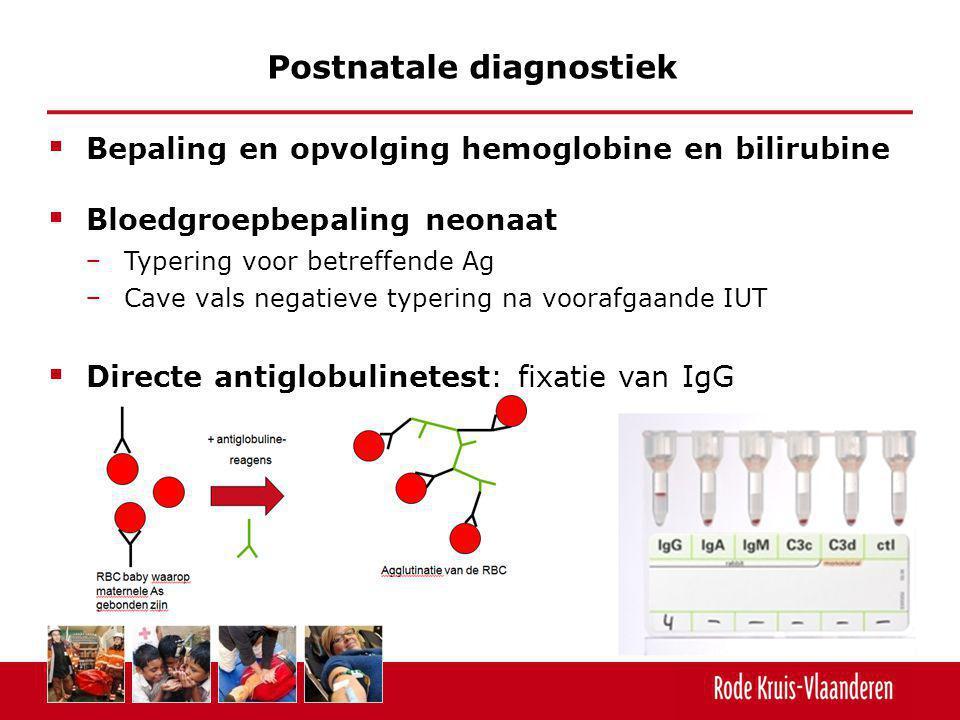  Bepaling en opvolging hemoglobine en bilirubine  Bloedgroepbepaling neonaat − Typering voor betreffende Ag − Cave vals negatieve typering na vooraf