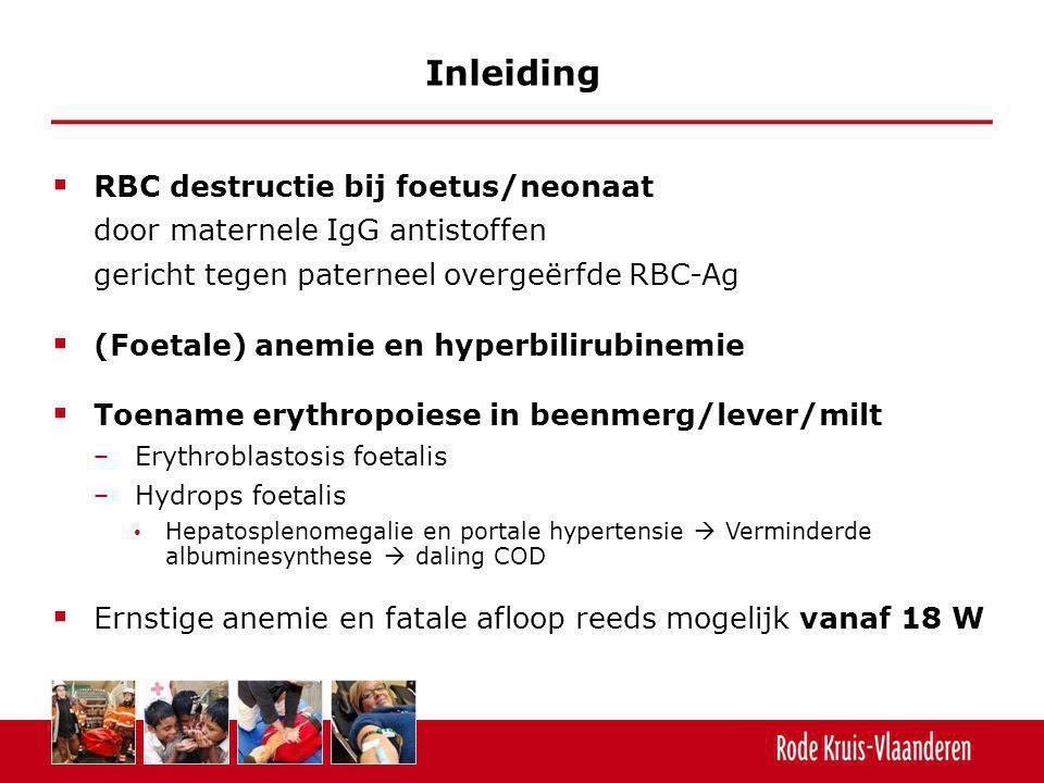  RBC destructie bij foetus/neonaat door maternele IgG antistoffen gericht tegen paterneel overgeërfde RBC-Ag  (Foetale) anemie en hyperbilirubinemie