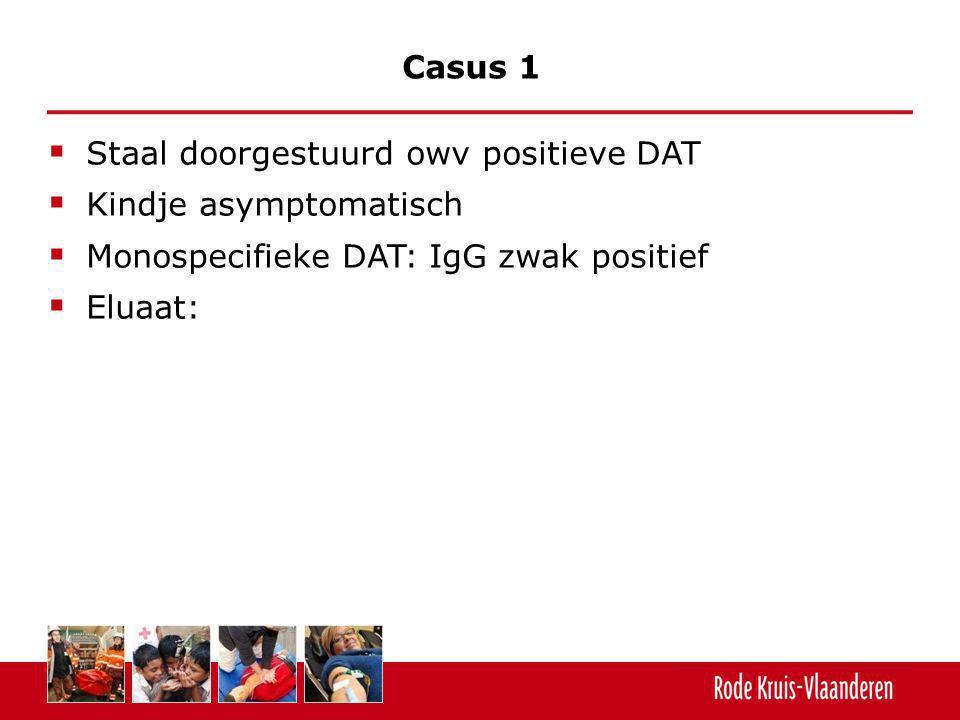  Staal doorgestuurd owv positieve DAT  Kindje asymptomatisch  Monospecifieke DAT: IgG zwak positief  Eluaat: Casus 1