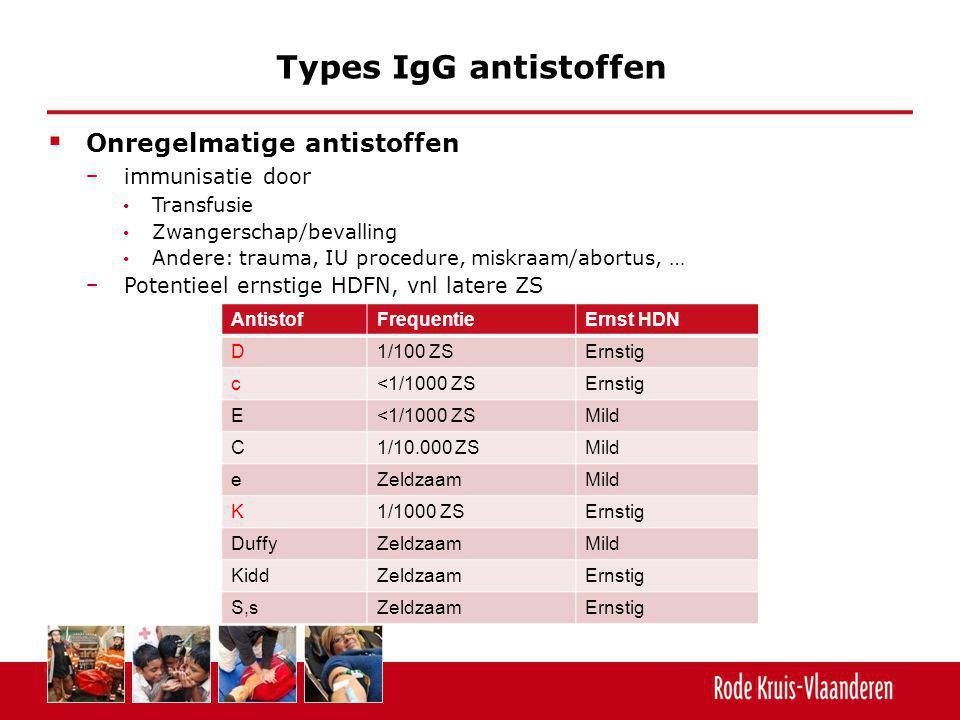  Onregelmatige antistoffen − immunisatie door Transfusie Zwangerschap/bevalling Andere: trauma, IU procedure, miskraam/abortus, … − Potentieel ernsti