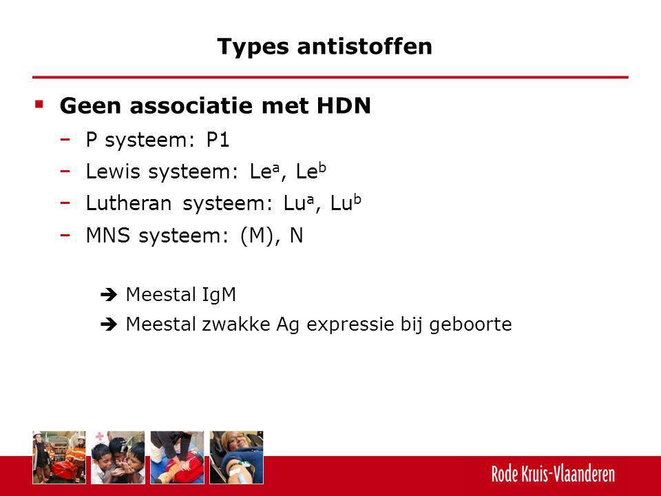 Geen associatie met HDN − P systeem: P1 − Lewis systeem: Le a, Le b − Lutheran systeem: Lu a, Lu b − MNS systeem: (M), N  Meestal IgM  Meestal zwa