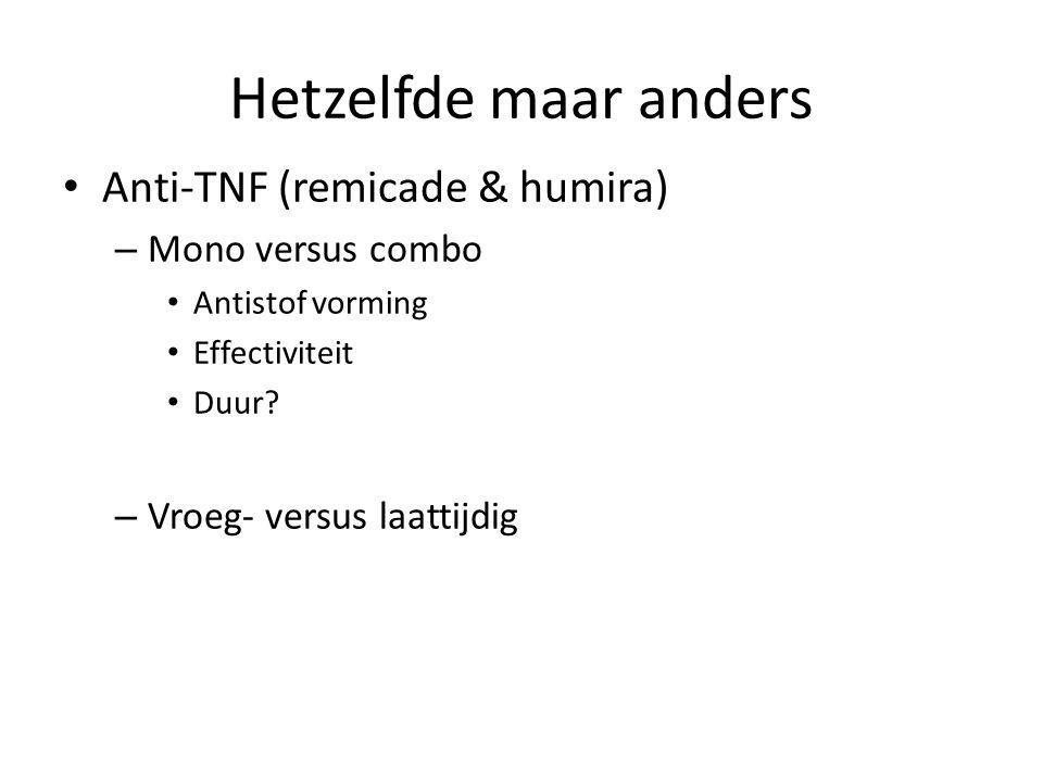 Hetzelfde maar anders Anti-TNF (remicade & humira) – Mono versus combo Antistof vorming Effectiviteit Duur? – Vroeg- versus laattijdig