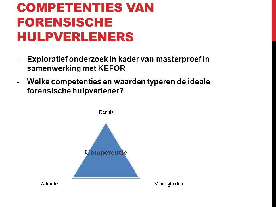 COMPETENTIES VAN FORENSISCHE HULPVERLENERS -Exploratief onderzoek in kader van masterproef in samenwerking met KEFOR -Welke competenties en waarden typeren de ideale forensische hulpverlener?