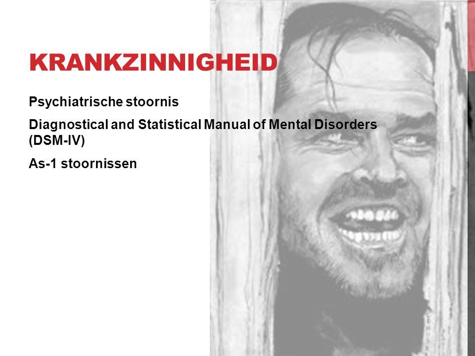 ERNSTIGE GEESTESSTOORNIS Psychiatrische stoornis Diagnostical and Statistical Manual of Mental Disorders (DSM-IV) As-2 stoornissen Persoonlijkheidsstoornissen Psychopathie