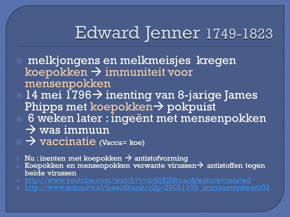  melkjongens en melkmeisjes kregen koepokken  immuniteit voor mensenpokken  14 mei 1796  inenting van 8-jarige James Phipps met koepokken  pokpui