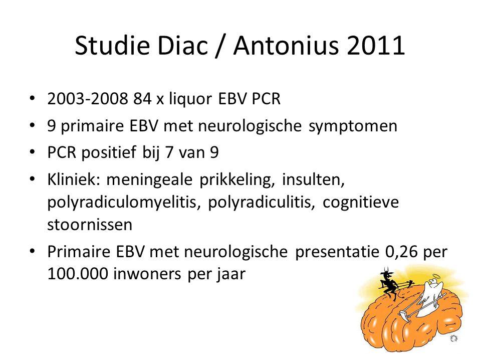 Studie Diac / Antonius 2011 2003-2008 84 x liquor EBV PCR 9 primaire EBV met neurologische symptomen PCR positief bij 7 van 9 Kliniek: meningeale prik