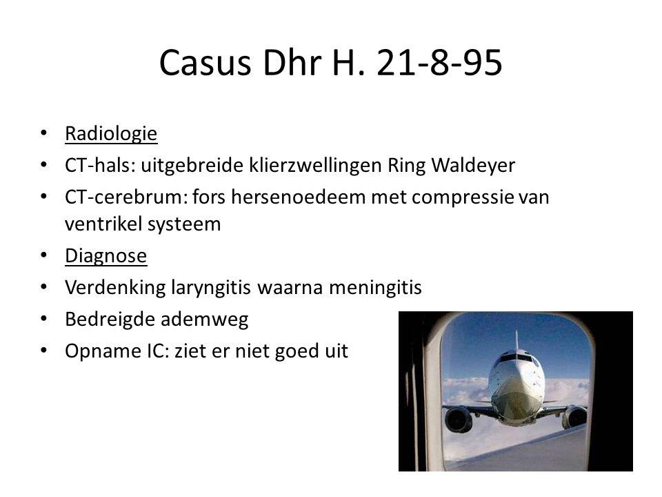 Casus Dhr H. 21-8-95 Radiologie CT-hals: uitgebreide klierzwellingen Ring Waldeyer CT-cerebrum: fors hersenoedeem met compressie van ventrikel systeem