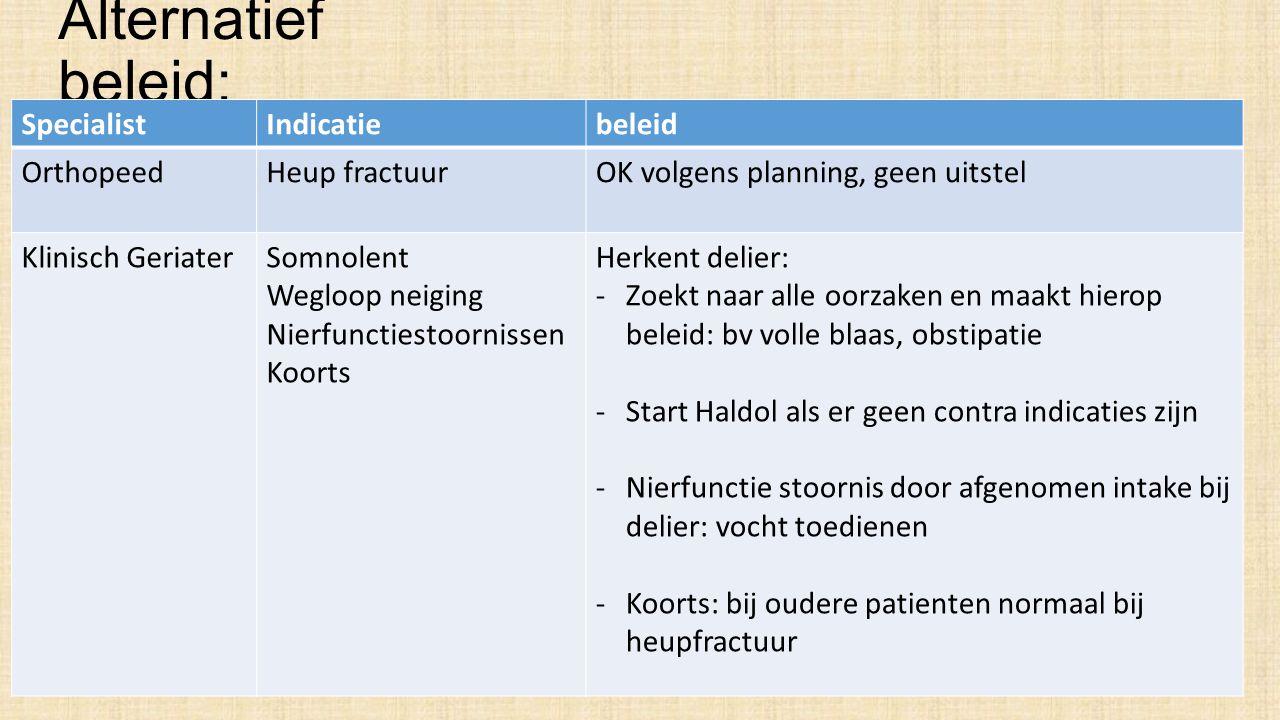 Wat betekent dit beleid: De patiёnt: 1.Operatie wordt NIET uitgesteld 2.