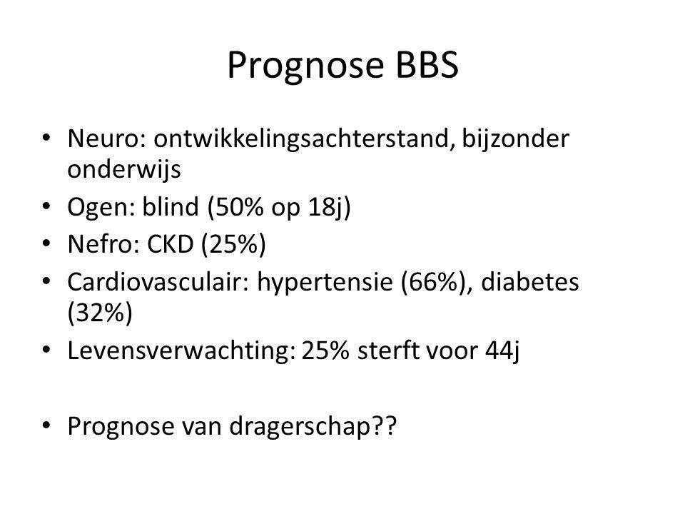 Prognose BBS Neuro: ontwikkelingsachterstand, bijzonder onderwijs Ogen: blind (50% op 18j) Nefro: CKD (25%) Cardiovasculair: hypertensie (66%), diabet