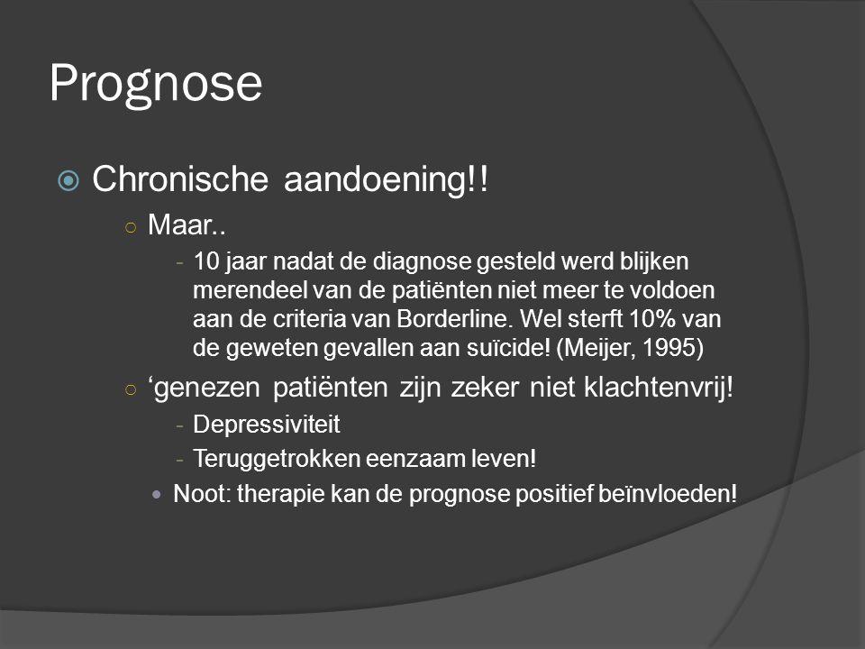 Prognose CChronische aandoening!! ○M○Maar.. -10 jaar nadat de diagnose gesteld werd blijken merendeel van de patiënten niet meer te voldoen aan de c