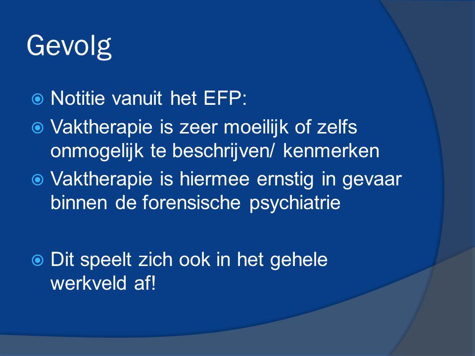 Gevolg  Notitie vanuit het EFP:  Vaktherapie is zeer moeilijk of zelfs onmogelijk te beschrijven/ kenmerken  Vaktherapie is hiermee ernstig in geva