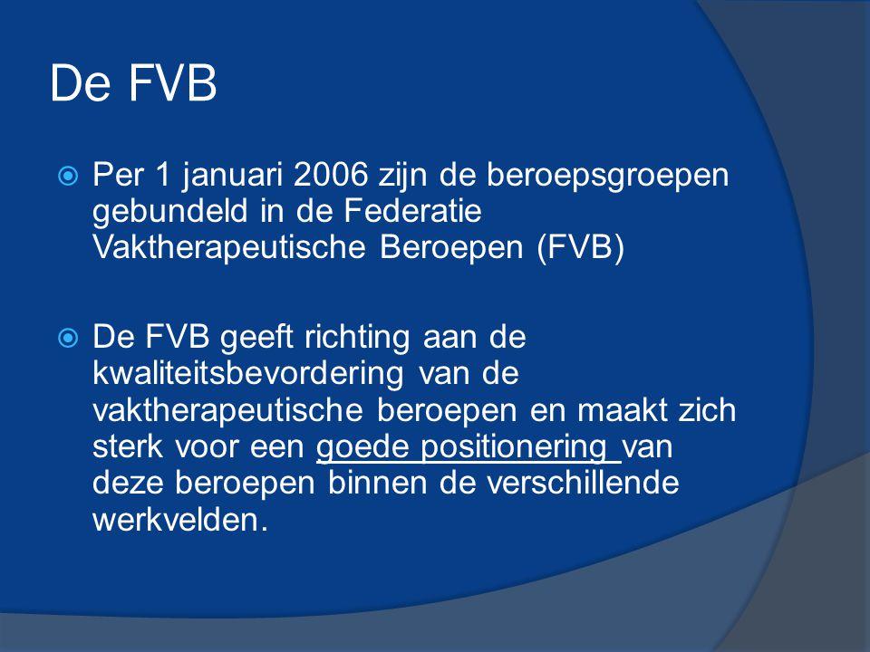 De FVB  Per 1 januari 2006 zijn de beroepsgroepen gebundeld in de Federatie Vaktherapeutische Beroepen (FVB)  De FVB geeft richting aan de kwaliteit