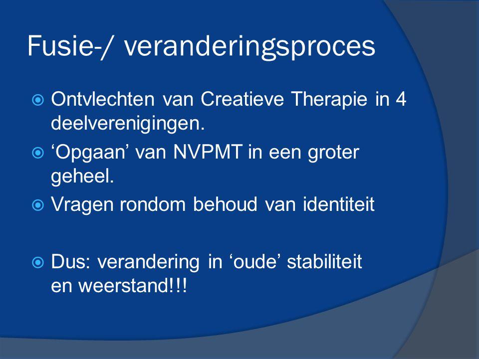 Fusie-/ veranderingsproces  Ontvlechten van Creatieve Therapie in 4 deelverenigingen.  'Opgaan' van NVPMT in een groter geheel.  Vragen rondom beho