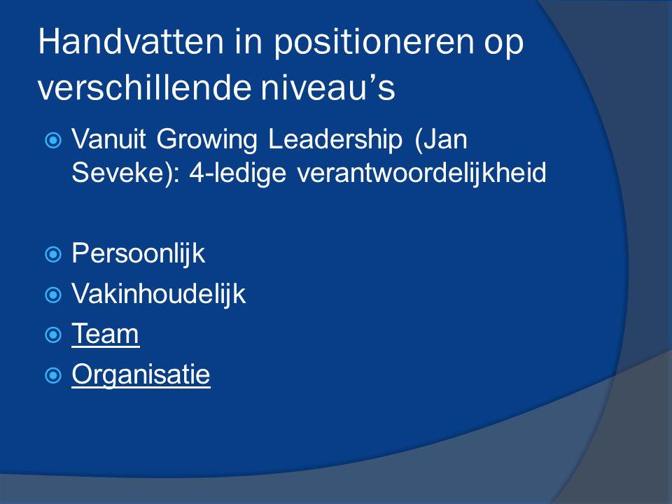 Handvatten in positioneren op verschillende niveau's  Vanuit Growing Leadership (Jan Seveke): 4-ledige verantwoordelijkheid  Persoonlijk  Vakinhoud