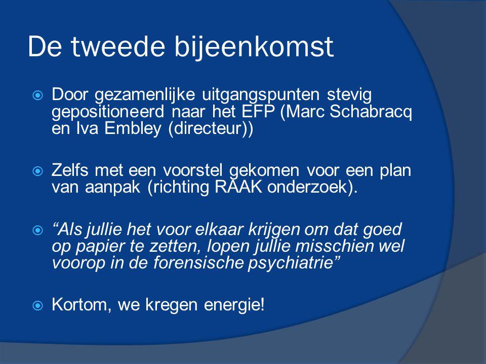 De tweede bijeenkomst  Door gezamenlijke uitgangspunten stevig gepositioneerd naar het EFP (Marc Schabracq en Iva Embley (directeur))  Zelfs met een