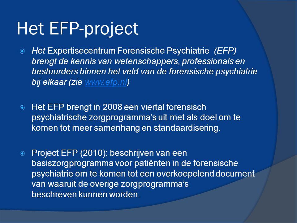Het EFP-project  Het Expertisecentrum Forensische Psychiatrie (EFP) brengt de kennis van wetenschappers, professionals en bestuurders binnen het veld