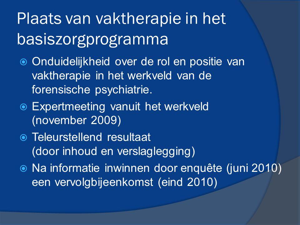 Plaats van vaktherapie in het basiszorgprogramma  Onduidelijkheid over de rol en positie van vaktherapie in het werkveld van de forensische psychiatr