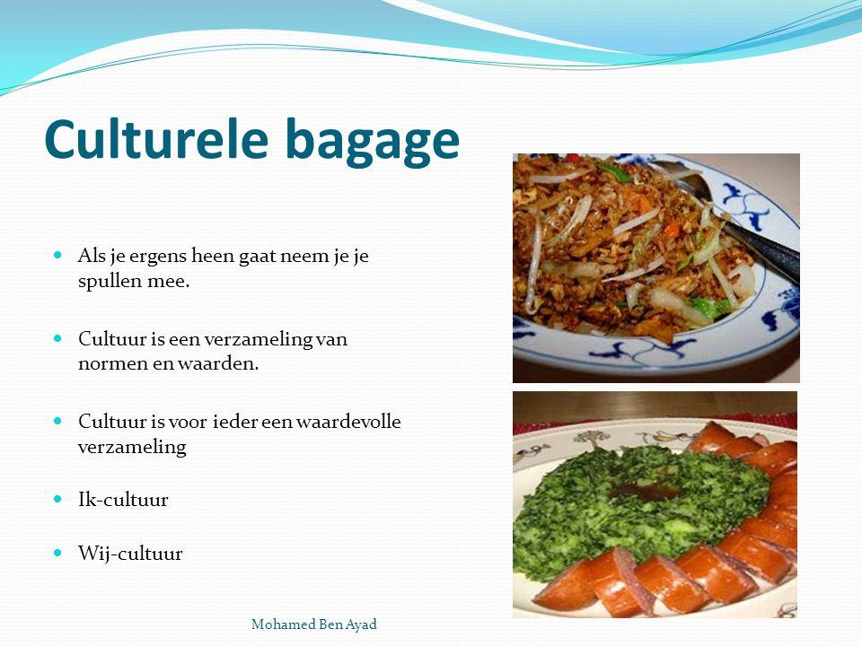 Culturele bagage Als je ergens heen gaat neem je je spullen mee.