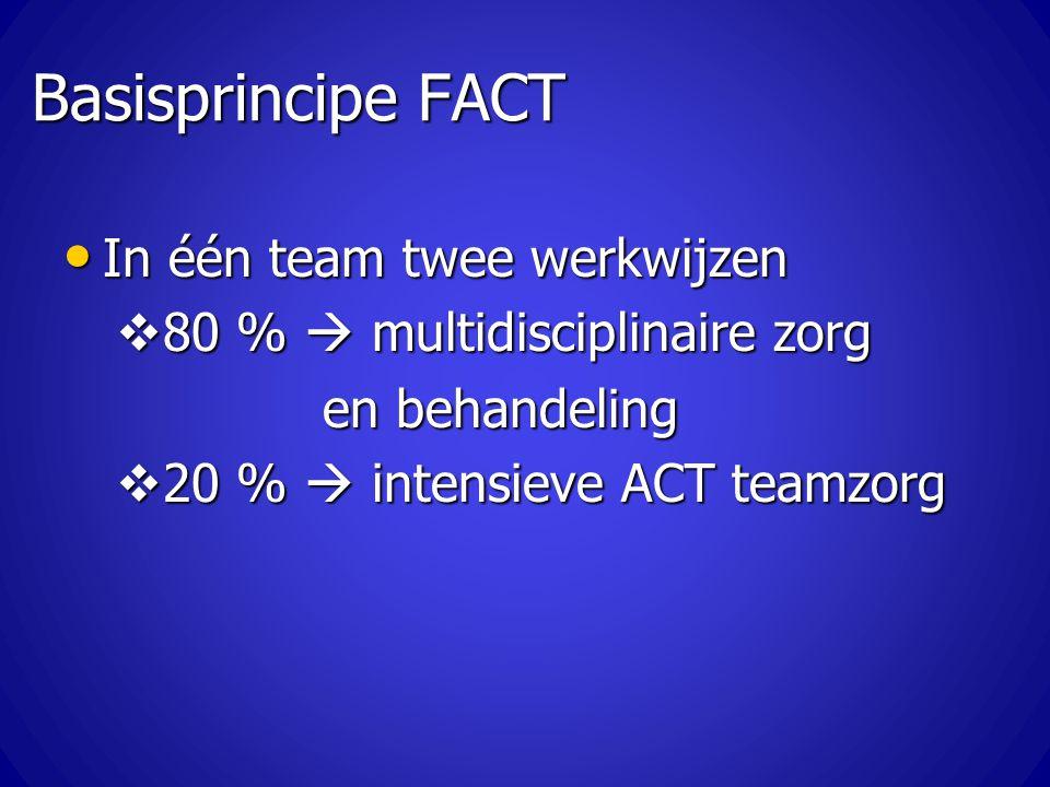 Basisprincipe FACT In één team twee werkwijzen In één team twee werkwijzen  80 %  multidisciplinaire zorg en behandeling en behandeling  20 %  int