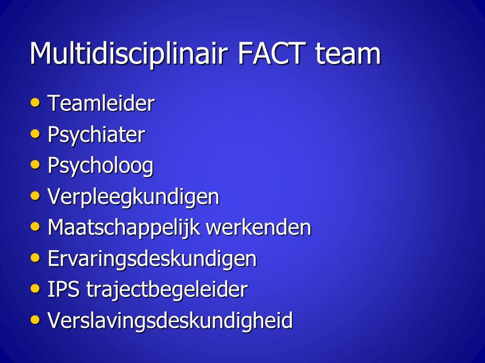 Multidisciplinair FACT team Teamleider Teamleider Psychiater Psychiater Psycholoog Psycholoog Verpleegkundigen Verpleegkundigen Maatschappelijk werken