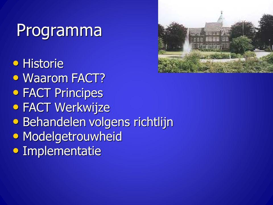 Programma Historie Historie Waarom FACT? Waarom FACT? FACT Principes FACT Principes FACT Werkwijze FACT Werkwijze Behandelen volgens richtlijn Behande