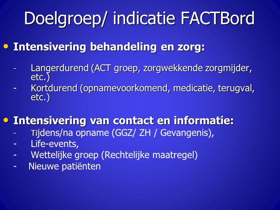 Doelgroep/ indicatie FACTBord Intensivering behandeling en zorg: Intensivering behandeling en zorg: - Langerdurend (ACT groep, zorgwekkende zorgmijder
