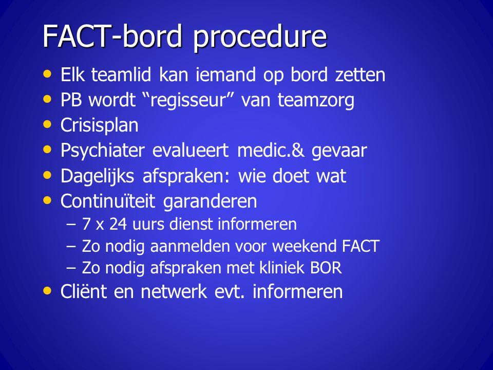 """FACT-bord procedure Elk teamlid kan iemand op bord zetten PB wordt """"regisseur"""" van teamzorg Crisisplan Psychiater evalueert medic.& gevaar Dagelijks a"""