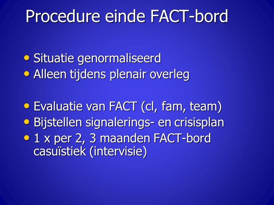 Procedure einde FACT-bord Situatie genormaliseerd Situatie genormaliseerd Alleen tijdens plenair overleg Alleen tijdens plenair overleg Evaluatie van