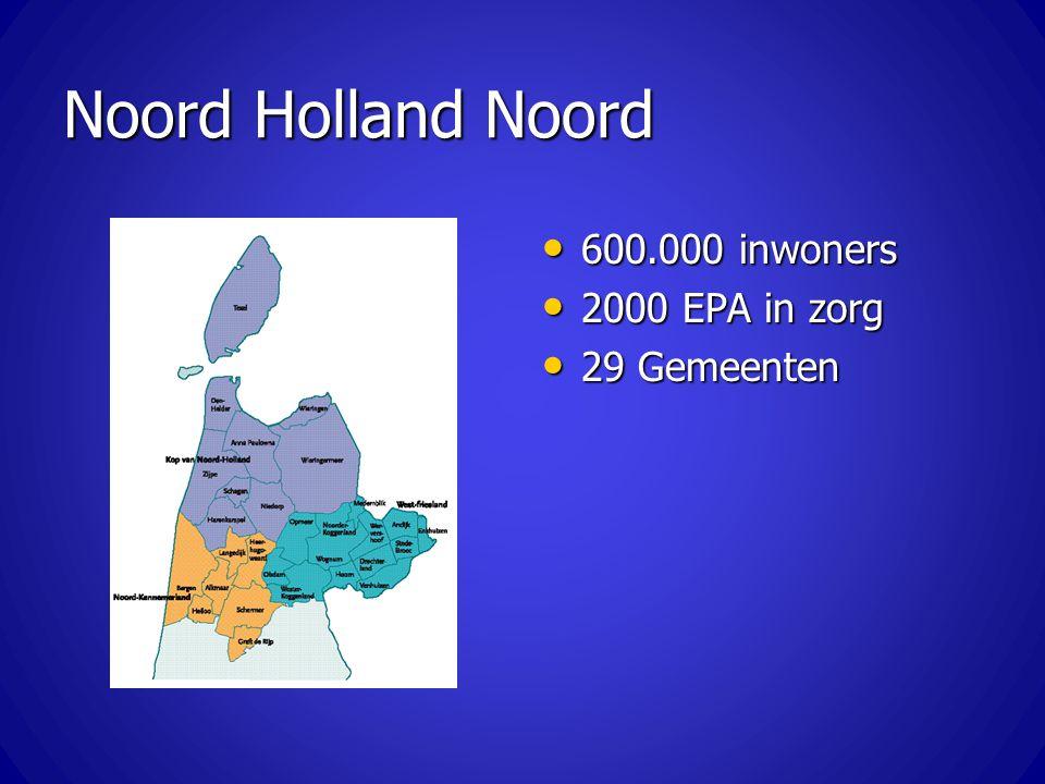 Noord Holland Noord 600.000 inwoners 600.000 inwoners 2000 EPA in zorg 2000 EPA in zorg 29 Gemeenten 29 Gemeenten