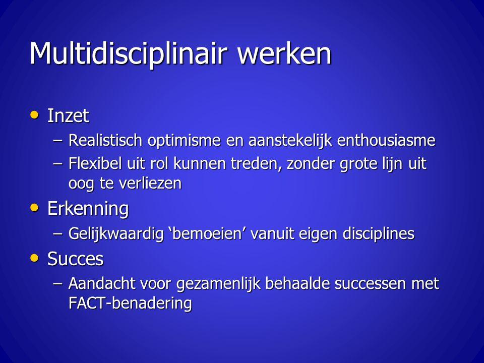 Multidisciplinair werken Inzet Inzet –Realistisch optimisme en aanstekelijk enthousiasme –Flexibel uit rol kunnen treden, zonder grote lijn uit oog te
