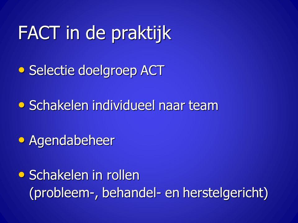 FACT in de praktijk Selectie doelgroep ACT Selectie doelgroep ACT Schakelen individueel naar team Schakelen individueel naar team Agendabeheer Agendab