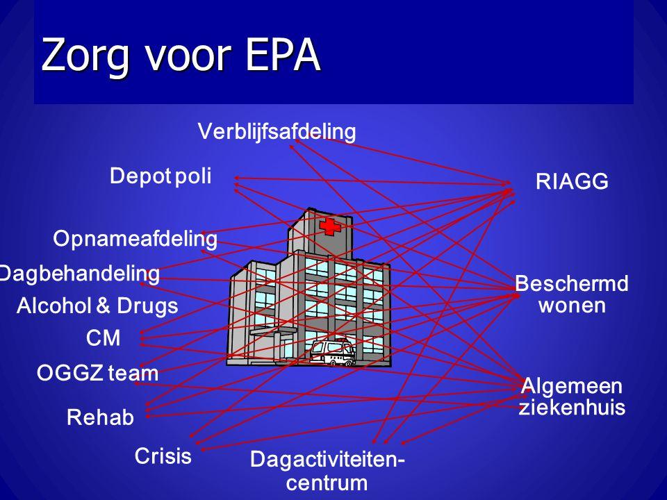 Zorg voor EPA OGGZ team Depot poli Opnameafdeling CM Verblijfsafdeling Dagactiviteiten- centrum RIAGG Beschermd wonen Algemeen ziekenhuis Crisis Alcoh