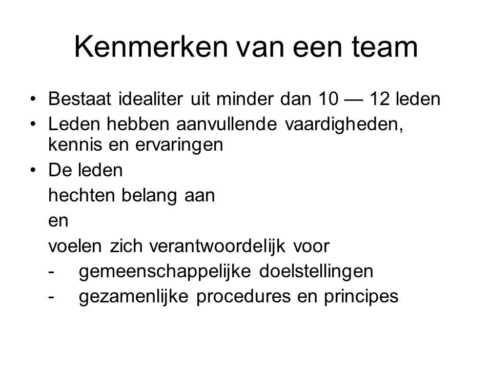 Kenmerken van een team Bestaat idealiter uit minder dan 10 — 12 leden Leden hebben aanvullende vaardigheden, kennis en ervaringen De leden hechten belang aan en voelen zich verantwoordelijk voor -gemeenschappelijke doelstellingen -gezamenlijke procedures en principes