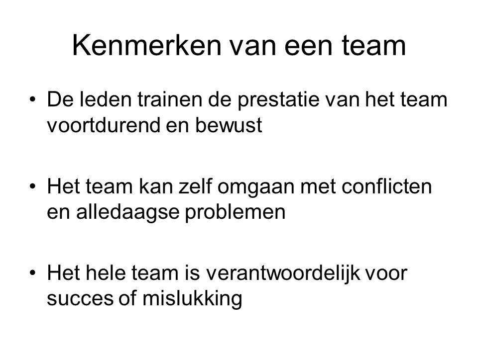 Kenmerken van een team De leden trainen de prestatie van het team voortdurend en bewust Het team kan zelf omgaan met conflicten en alledaagse problemen Het hele team is verantwoordelijk voor succes of mislukking