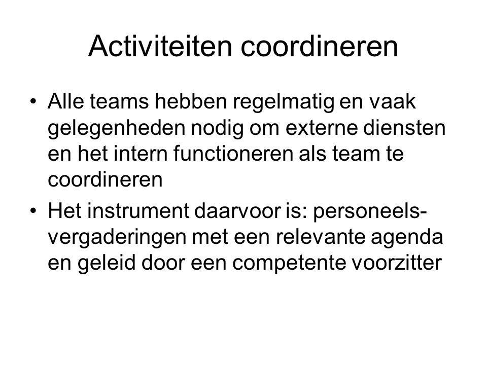 Activiteiten coordineren Alle teams hebben regelmatig en vaak gelegenheden nodig om externe diensten en het intern functioneren als team te coordineren Het instrument daarvoor is: personeels vergaderingen met een relevante agenda en geleid door een competente voorzitter