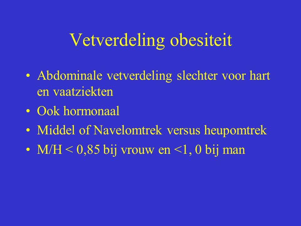 Vetverdeling obesiteit Abdominale vetverdeling slechter voor hart en vaatziekten Ook hormonaal Middel of Navelomtrek versus heupomtrek M/H < 0,85 bij