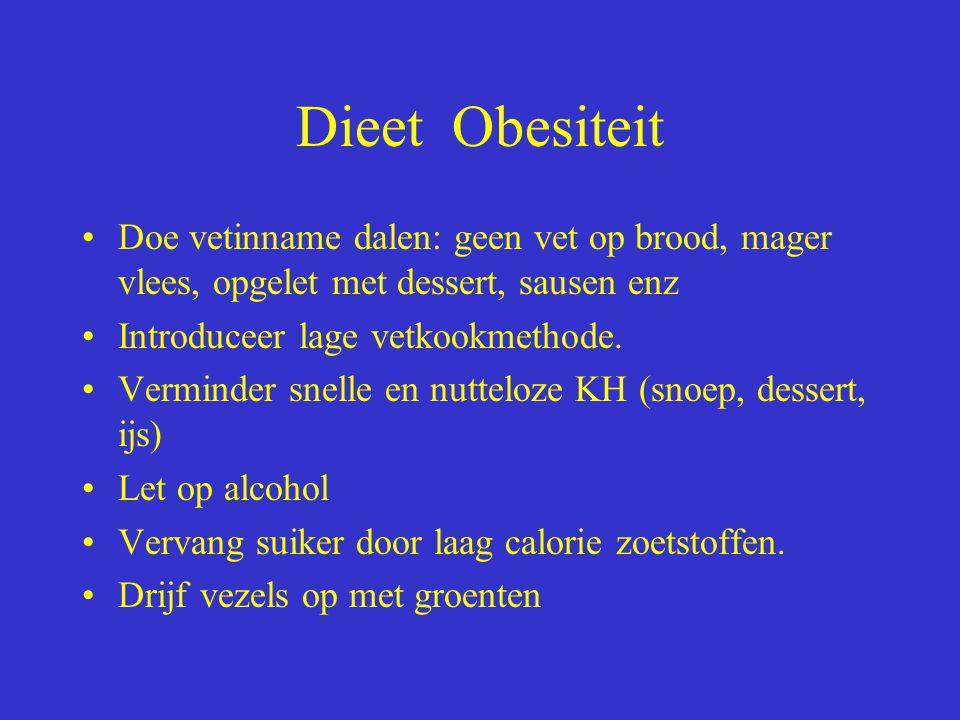 Dieet Obesiteit Doe vetinname dalen: geen vet op brood, mager vlees, opgelet met dessert, sausen enz Introduceer lage vetkookmethode. Verminder snelle