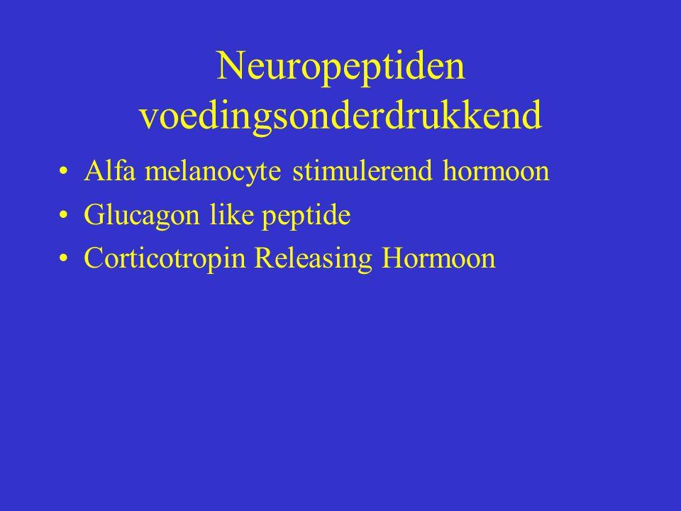 Neuropeptiden voedingsonderdrukkend Αlfa melanocyte stimulerend hormoon Glucagon like peptide Corticotropin Releasing Hormoon