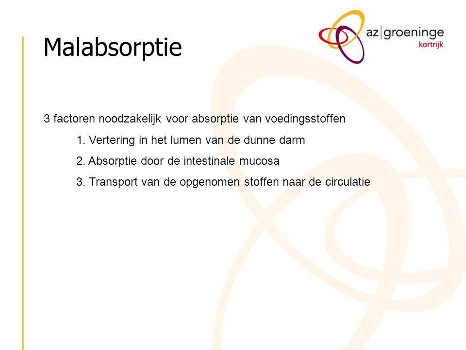 Malabsorptie Klinische presentatie is heel wisselend en afhankelijk van de graad van malabsorptie: - partieel : vb preferentieel element vb:Vit B 12 - totaal: vb.