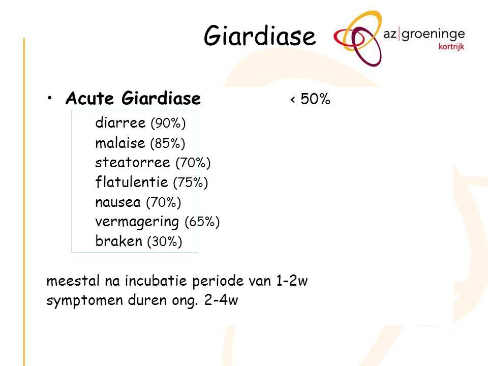 Giardiase Acute Giardiase < 50% diarree (90%) malaise (85%) steatorree (70%) flatulentie (75%) nausea (70%) vermagering (65%) braken (30%) meestal na