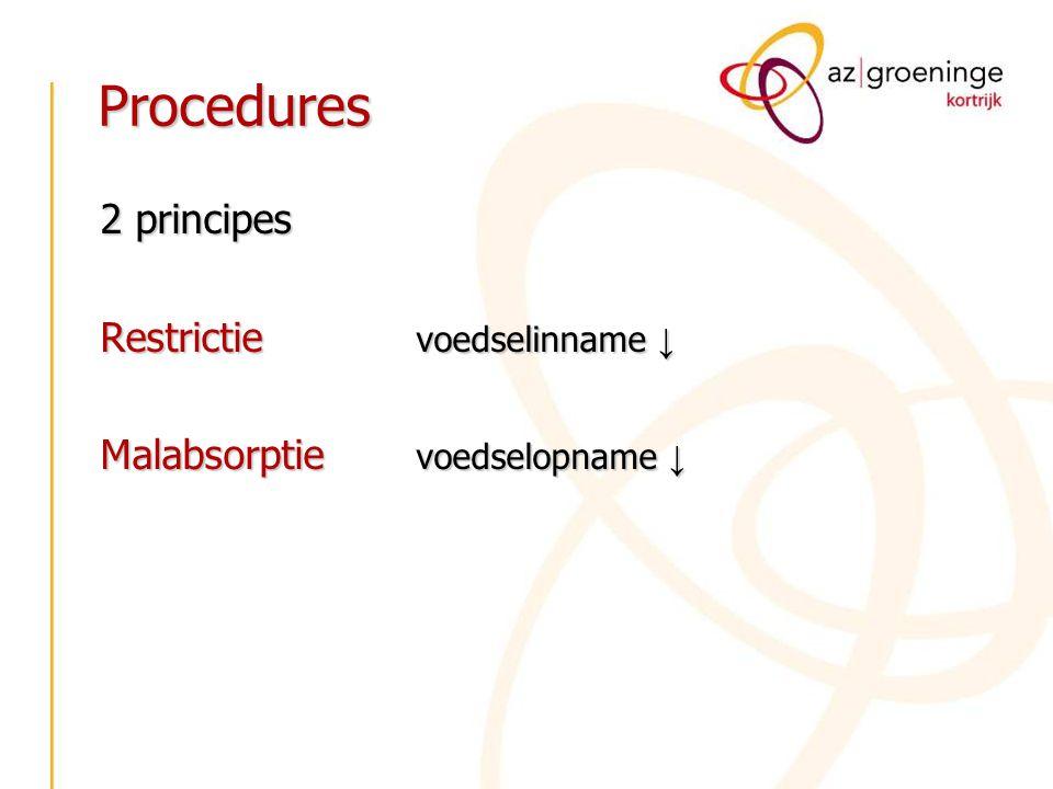 Procedures 2 principes Restrictie voedselinname ↓ Malabsorptie voedselopname ↓