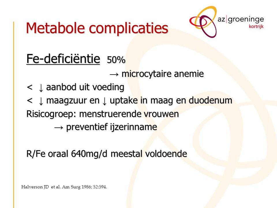 Metabole complicaties Fe-deficiëntie 50% → microcytaire anemie < ↓ aanbod uit voeding < ↓ maagzuur en ↓ uptake in maag en duodenum Risicogroep: menstr