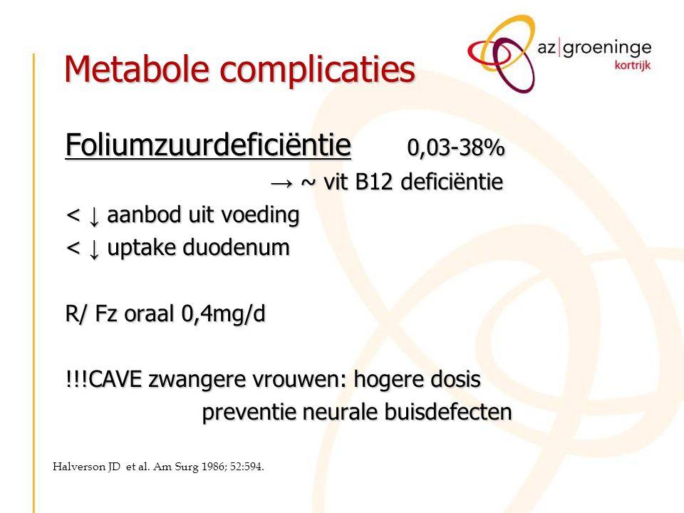 Metabole complicaties Foliumzuurdeficiëntie 0,03-38% → ~ vit B12 deficiëntie < ↓ aanbod uit voeding < ↓ uptake duodenum R/ Fz oraal 0,4mg/d !!!CAVE zw