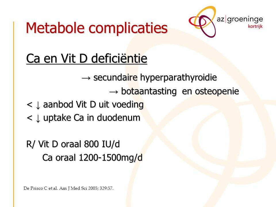 Metabole complicaties Ca en Vit D deficiëntie → secundaire hyperparathyroidie → botaantasting en osteopenie < ↓ aanbod Vit D uit voeding < ↓ uptake Ca
