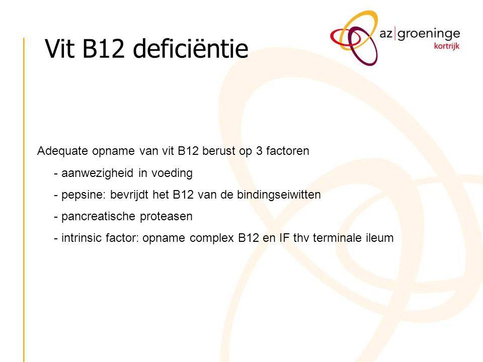 Adequate opname van vit B12 berust op 3 factoren - aanwezigheid in voeding - pepsine: bevrijdt het B12 van de bindingseiwitten - pancreatische proteas