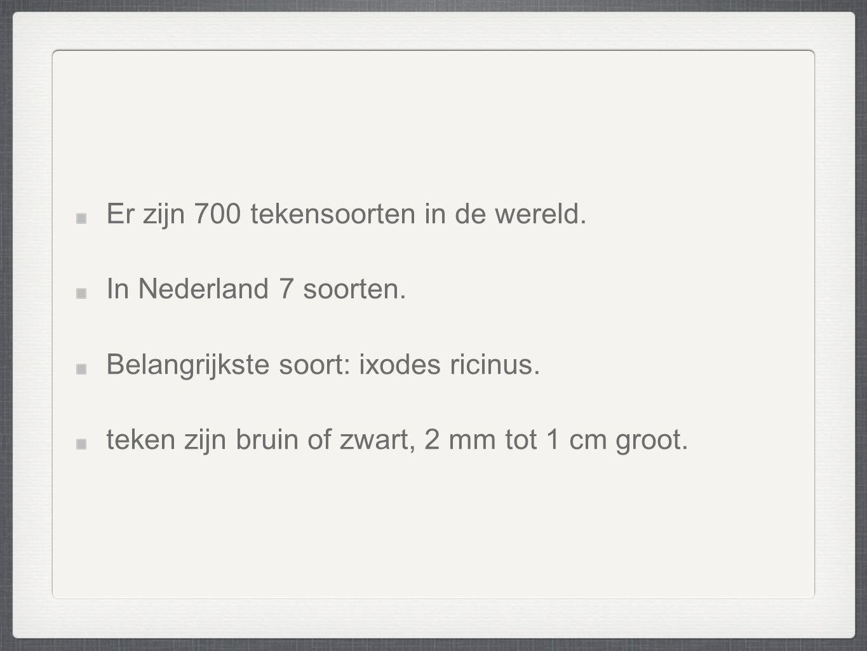 Er zijn 700 tekensoorten in de wereld. In Nederland 7 soorten.
