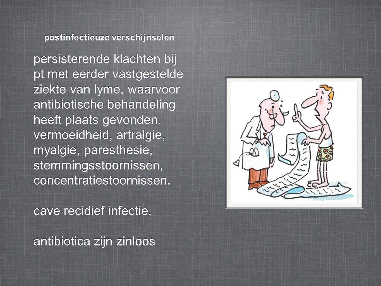 postinfectieuze verschijnselen persisterende klachten bij pt met eerder vastgestelde ziekte van lyme, waarvoor antibiotische behandeling heeft plaats gevonden.
