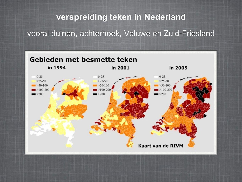 vooral duinen, achterhoek, Veluwe en Zuid-Friesland verspreiding teken in Nederland